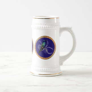 Turquoise green and blue with purple hummingbird beer stein