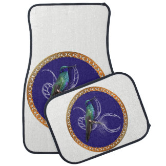 Turquoise green and blue with purple hummingbird car mat