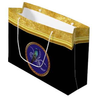 Turquoise green and blue with purple hummingbird large gift bag
