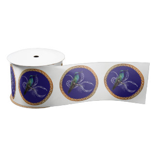 Turquoise green and blue with purple hummingbird satin ribbon