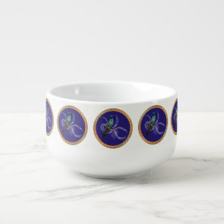 Turquoise green and blue with purple hummingbird soup mug