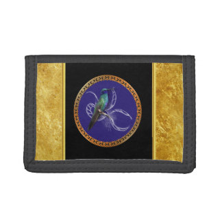 Turquoise green and blue with purple hummingbird tri-fold wallets