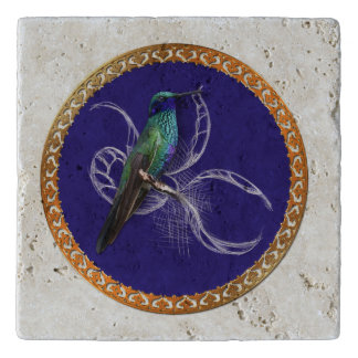 Turquoise green and blue with purple hummingbird trivet