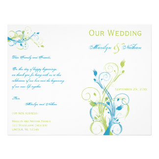 Turquoise, Green, and White Floral Wedding Program