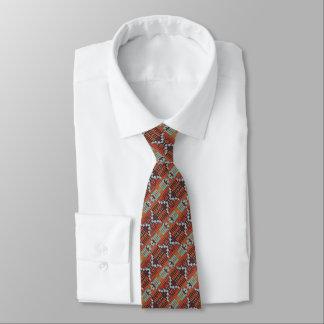 Turquoise Green Brown Orange White Mosaic Pattern Tie