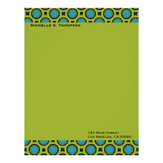 turquoise green circles customized letterhead
