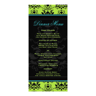 Turquoise & Green Damask Slim Dinner Menu Rack Card Design