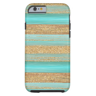 Turquoise Green Faux Gold Glitter Stripes Pattern Tough iPhone 6 Case