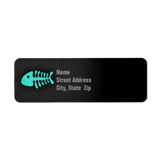 Turquoise Green Fish Bones Return Address Label
