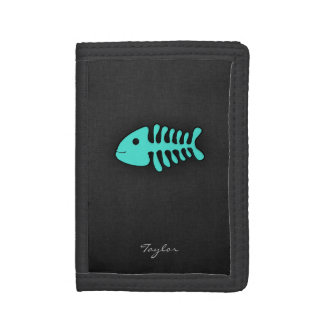 Turquoise Green Fish Bones Tri-fold Wallets