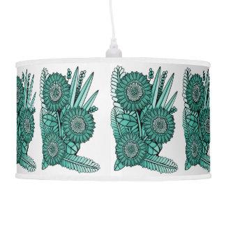 Turquoise Green Gerbera Daisy Flower Bouquet Pendant Lamp