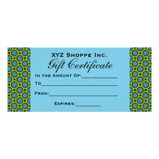 Turquoise Green Gift Certificate Custom Rack Cards