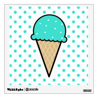 Turquoise Green Ice Cream Cone Wall Decal
