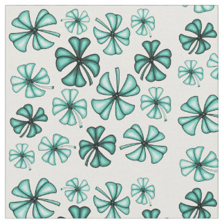 Turquoise Green Lucky Shamrock Clover Fabric