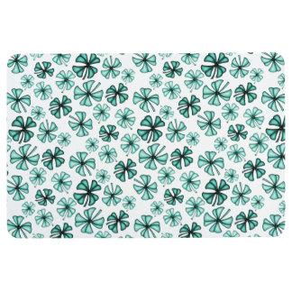 Turquoise Green Lucky Shamrock Clover Floor Mat
