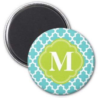 Turquoise & Green Modern Moroccan Custom Monogram 2 Inch Round Magnet
