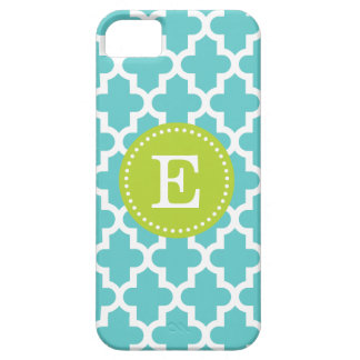 Turquoise & Green Modern Moroccan Custom Monogram iPhone 5 Covers