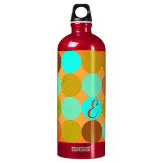 Turquoise Green Orange & Red Circles Monogram Water Bottle
