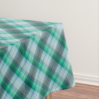 Turquoise green plaid . tablecloth