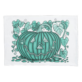 Turquoise-Green Spidery Pumpkin Pillowcase