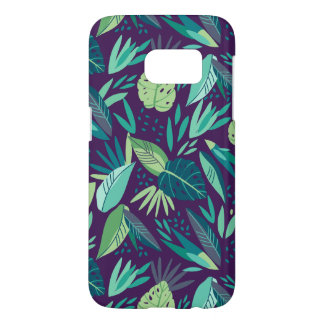 Turquoise & Green Tropical Leafs Pattern Samsung Galaxy S7 Case