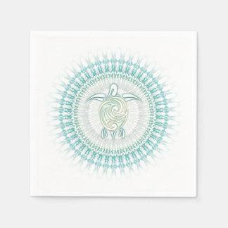 Turquoise Green Turtle Mandala Paper Napkin