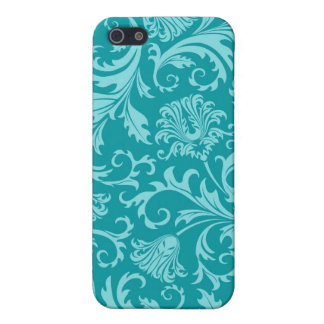 Turquoise-Green Vintage Damasks-Customized iPhone 5/5S Covers