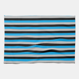 Turquoise, Grey and Black Stripes Kitchen Towel