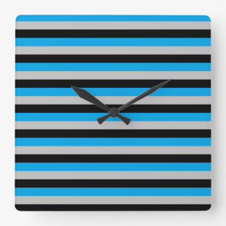 Turquoise, Grey and Black Stripes Wall Clock