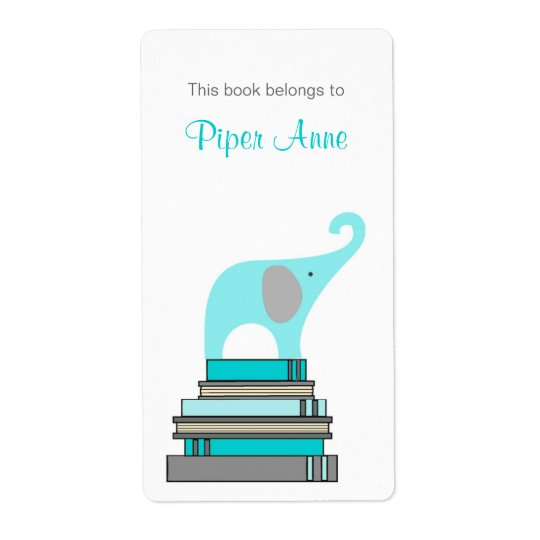 Turquoise & Grey Elephant on books book plate Shipping Label