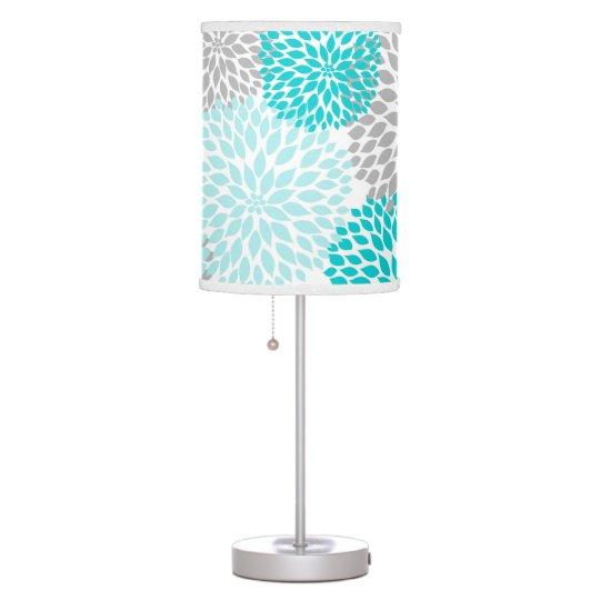 Turquoise Grey Grey Dahlia Floral mums lamp