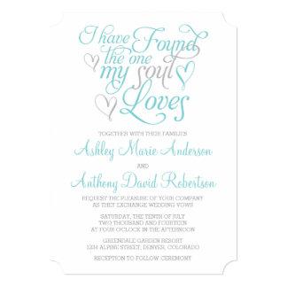 "Turquoise Grey Soul Loves Heart Wedding 5"" X 7"" Invitation Card"