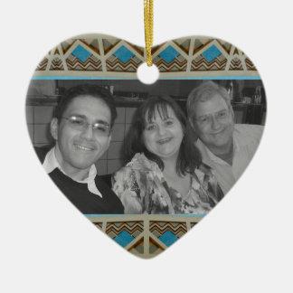 Turquoise Grey Southwestern Photoframe Double-Sided Heart Ceramic Christmas Ornament