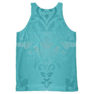 Turquoise Grunge Damask All-Over-Print Tank Top