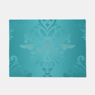 Turquoise Grunge Damask Doormat