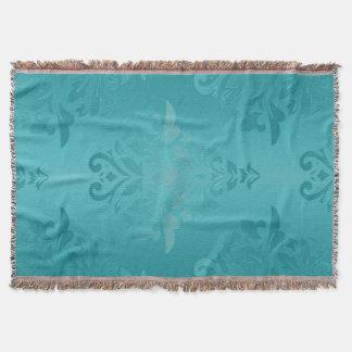 Turquoise Grunge Damask Throw Blanket