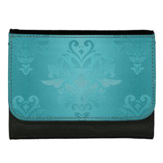 Turquoise Grunge Damask Wallets