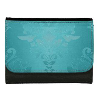 Turquoise Grunge Damask Women's Wallets