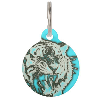 Turquoise Grunge Growling Tiger Pet ID Tag