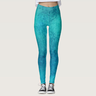 Turquoise Grunge Textured Leggings