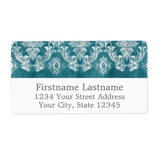 Turquoise Grungy Damask Pattern Custom Text