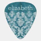 Turquoise Grungy Damask Pattern Custom Text Guitar Pick