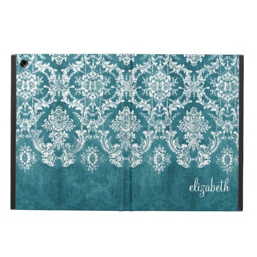 Turquoise Grungy Damask Pattern Custom Text iPad Air Case