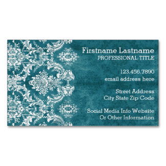 Turquoise Grungy Damask Pattern Custom Text Magnetic Business Card
