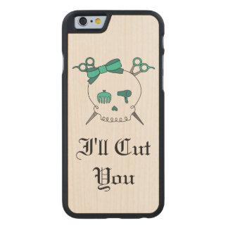 Turquoise Hair Skull -Scissor Crossbones #5 Carved® Maple iPhone 6 Slim Case
