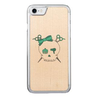 Turquoise Hair  Skull -Scissor Crossbones Carved iPhone 7 Case