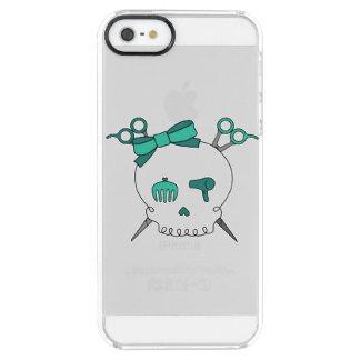 Turquoise Hair Skull -Scissor Crossbones Clear iPhone SE/5/5s Case