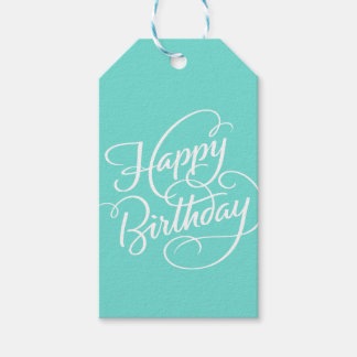 TURQUOISE HAPPY BIRTHDAY   GIFT TAG PACK OF GIFT TAGS