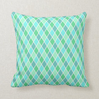 Turquoise Harlequin Throw Pillow