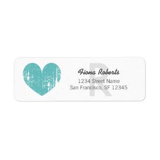 Turquoise heart monogram Return Address Labels